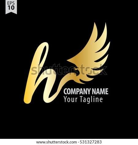 h logo with eagle or hawk icon