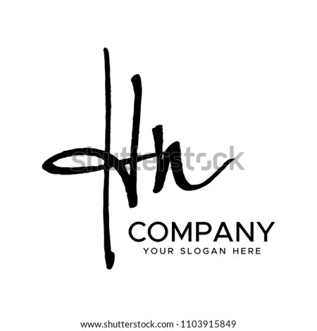 H N Initial Letter handwriting logo vector. Hand lettering for designs