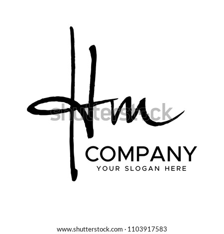 H O Initial Letter handwriting logo vector. Hand lettering for designs