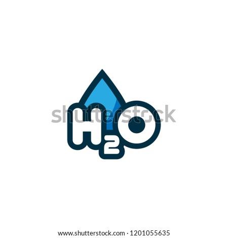 H2O logo concept.cartoon style
