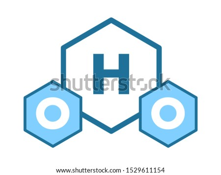 H2O water molecule logo. Chemical formula for water, ice or steam, two atoms of hydrogen and one oxygen atom, molecular sign. Graphic flat vector illustration on white background.