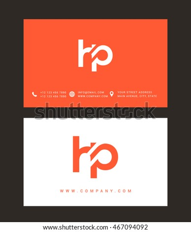 h and p template - h p letter logo with business card template vector