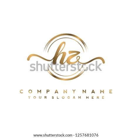 H Z Initial handwriting logo vector Stock fotó ©