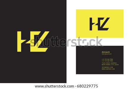 H Z joint logo letter design with business card template Stock fotó ©