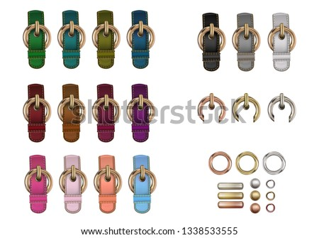 Haberdashery accessories. Set metal round buckles and leather straps with stitches of different colors. Stock photo ©