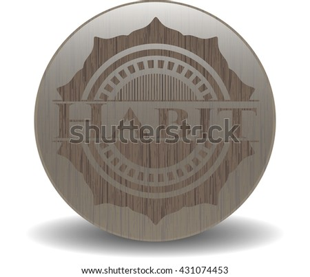 Habit badge with wood background