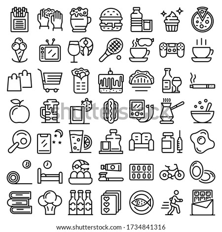 Habit icons set. Outline set of habit vector icons for web design isolated on white background Stockfoto ©