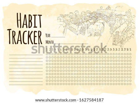 Habit tracker. City sketching. Line art silhouette. Travel card. Tourism concept. Luxembourg. Sketch style vector illustration.