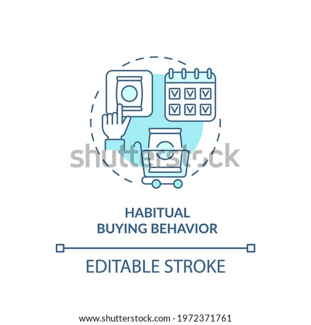 Habitual buying behavior concept icon. Consumer behavior idea thin line illustration. Buying familiar brand. Daily routine. Vector isolated outline RGB color drawing. Editable stroke Сток-фото ©