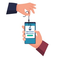 Hacked account. Smartphone in hand, hook in hand. Fraudster steals personal data. Account theft. Fishing hook, steals data from phone. Vector illustration flat design. Loss of personal information.