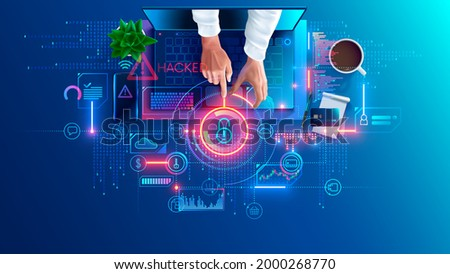 Hacked laptop by a hacker. Hacker hacking computer, broke password and attack internet security system. Phishing scam. Cyber criminal gets access to personal data, banking. Computer hack concept.