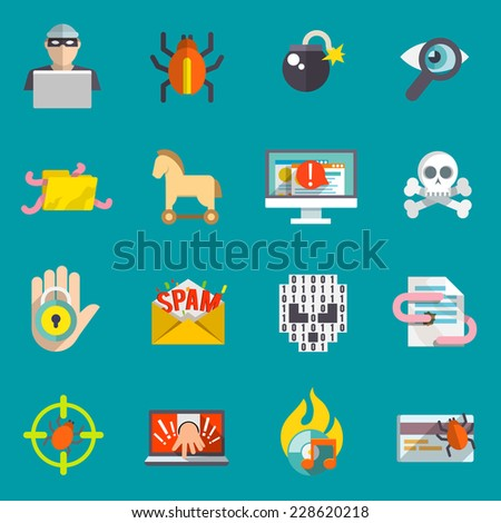 Hacker activity computer and e-mail spam viruses bank account hacking flat icons set isolated vector illustration