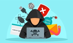 Hacker activity concept background. Flat illustration of hacker activity vector concept background for web design