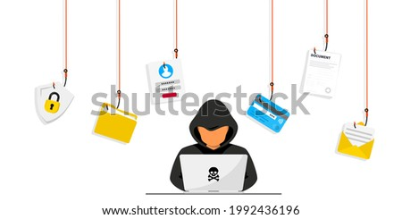 Hacker and Cyber criminals phishing stealing private personal data, user login, password, document, email and credit card. Phishing and fraud, online scam and steal. Hacker sitting at the desktop