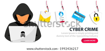 Hacker and Cyber criminals phishing stealing private personal data, user login, password, document, email and credit card. Phishing and fraud, online scam and steal. Hacker sitting at the desktop Foto stock ©