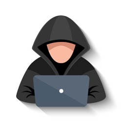 Hacker at laptop icon. Flat illustration of hacker at laptop vector icon for web design