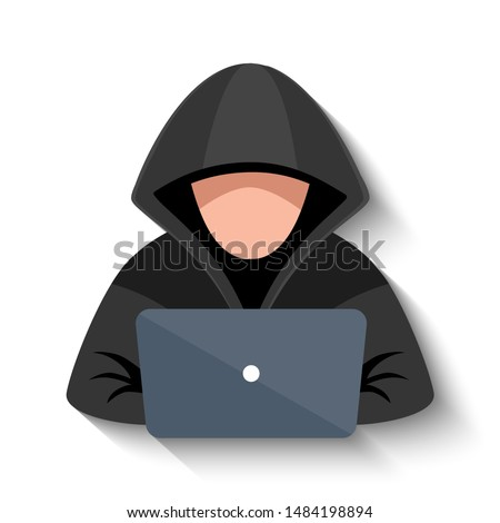 Hacker at laptop icon. Flat illustration of hacker at laptop vector icon for web design Stok fotoğraf ©