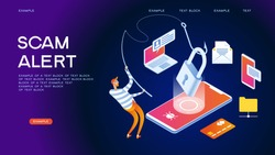 Hacker attack and web security vector concept, phishing scam. Netwrok and internet security. Anti virus, spyware, malware. 3d isometric vector illustration.