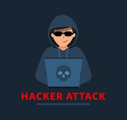 Hacker attack. man in a black hoodie is sitting at a laptop. cyber thief. Hacker is sitting at computer, cracking website or personal data. vector illustration in flat design