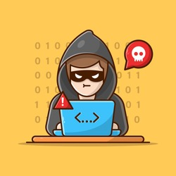 Hacker breaks into laptop Vector Icon Illustration. Hacker And Laptop. Hacker And Technology Icon Concept White Isolated. Flat Cartoon Style Suitable for Web Landing Page, Banner, Sticker, Background
