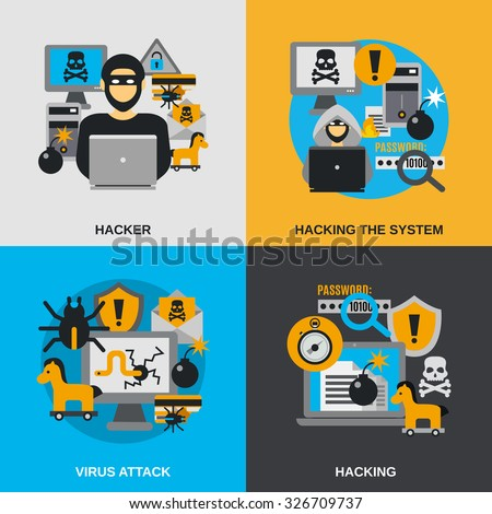 hacker design concept set with