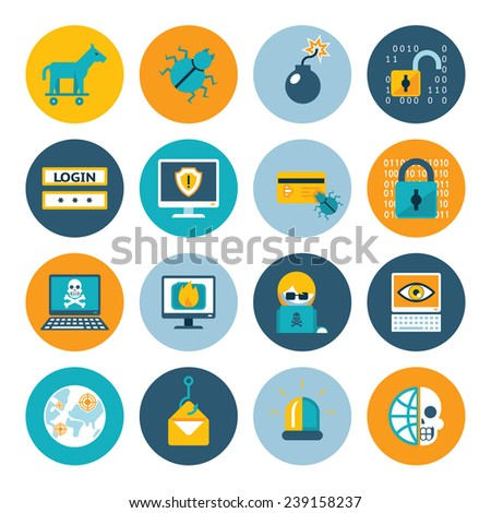 hacker flat icons badges in