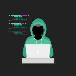 Hacker hacking laptop. Computer programmer vector illustration. Anonymous faceless cyber criminal figure. Black hat software engineer.