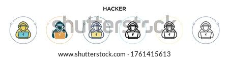 hacker icon in filled  thin
