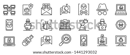 Hacker icons set. Outline set of hacker vector icons for web design isolated on white background Stock photo ©