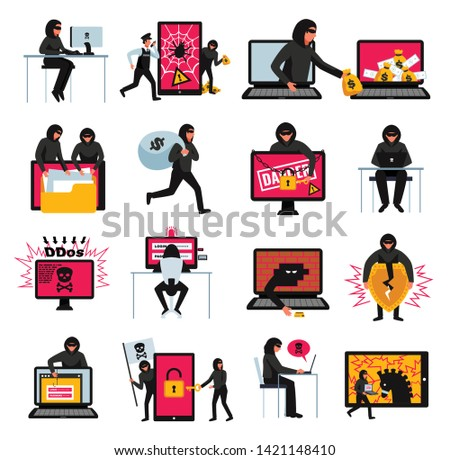 Hacker icons set with online threats and attacks symbols flat isolated vector illustration