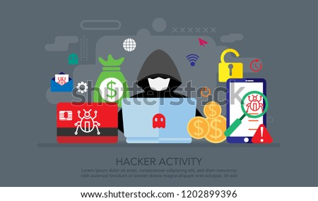 Hacker internet activity. Hacker spam Phishing online threat computer systems Malware cyber attack fraud threat computer wannacry Suitable for Landing Page, Web Banner, vector illustration. Stock photo ©