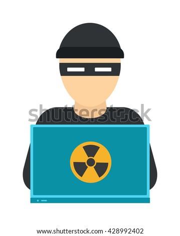 hacker on laptop hooded