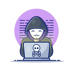 Hacker Operating A Laptop Vector Icon Illustration. Hacker And Laptop. Hacker And Technology Icon Concept White Isolated. Flat Cartoon Style Suitable for Web Landing Page, Banner, Sticker, Background