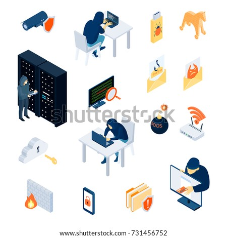 hacker set of isometric icons