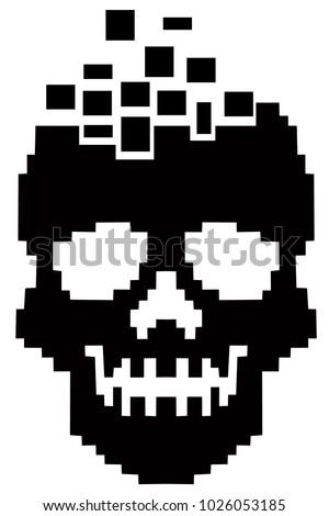 hacker sign with pixel skull