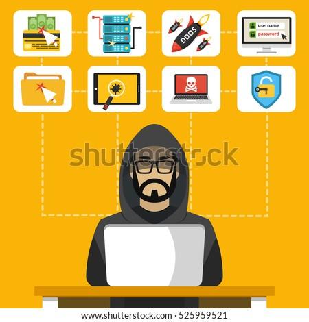 hacker sitting at the desktop