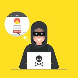 Hacker sitting at the desktop and hacking user login. Vector illustration.
