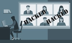 Hacker Steal Video Conference User Account Data ID Information and Sell it in Dark Web. Online Virtual Meetings Security Crack Risk Illustration. Enterprise Webinars Teleconference Hijacking Concept.
