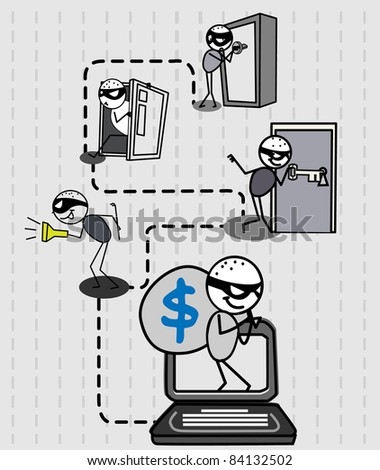 hacker thief money vector