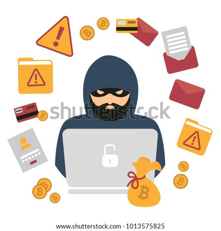 hacker thief with notebook and