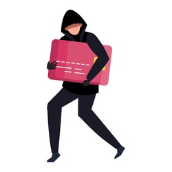 hacker with credit card on white background vector illustration design
