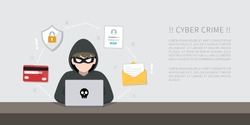 Hacker with laptop computer stealing confidential data, personal information and credit card detail. Hacking concept.