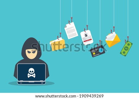 Hacker with laptop computer stealing confidential data, personal information and credit card detail. Hacking concept. Foto stock ©