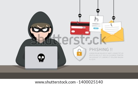 Hacker with laptop computer stealing confidential data, personal information, credit card. Internet phishing concept.