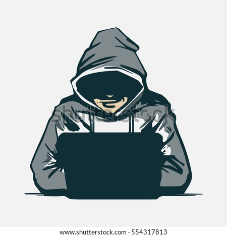 hacker with laptop  hacking the