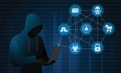 Hacker with Laptop or Computer and malware icons on Blue binary code Background. Computer hacker or Cyber attack concept vector illustration.