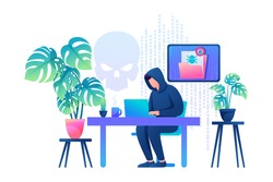 Hacker working on a laptop, cyber fraud, email hacking. Flat 2D Web design.