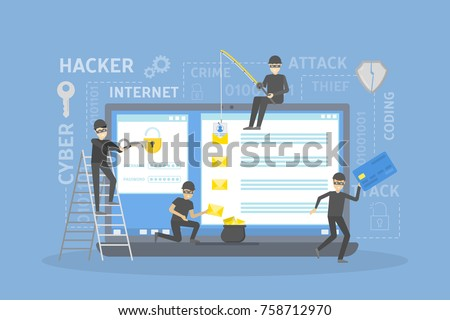 Hackers robbing computer. people in black masks stealing data and money. Foto stock ©