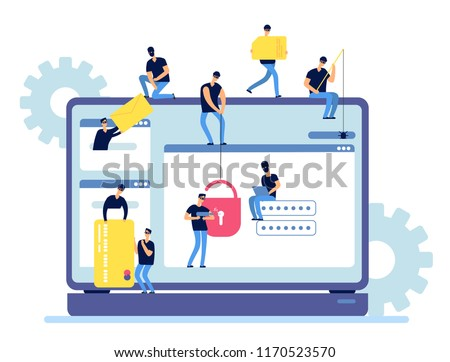 Hackers steal information. Cyber criminals hack personal data from computer. Web security and hacker internet activity vector concept. Hacker unlock information, steal and crime computer data