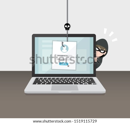 Hacking account and password. Account data phishing with cyber thief hide behind Laptop computer. Hacking concept.